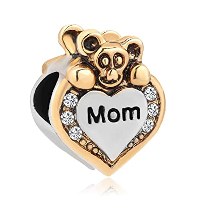 e48c44c30 Uniqueen I Love You Heart Cute Bear Clear Rhinestone Charms Beads fit  Chamilia Charm Bracelet (Mom): Amazon.co.uk: Jewellery