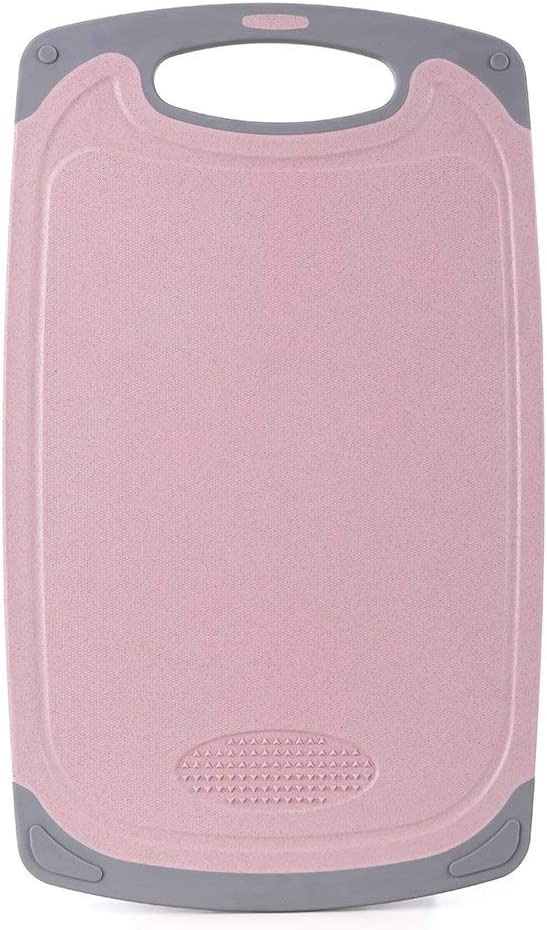IMPR3·TREE Cutting Board for Kitchen with Easy Grip Handle w/Juice Grooves and Spice Herb Grinder | Dishwasher Safe | BPA-Free, Medium (15.7 x 11.4 inch), Pink