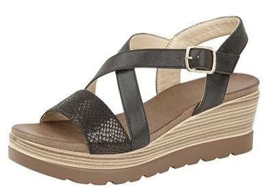 3c638397428 Cipriata Ladies Clarice  Cross Over Buckle Wedge Heel Sandal  Amazon ...