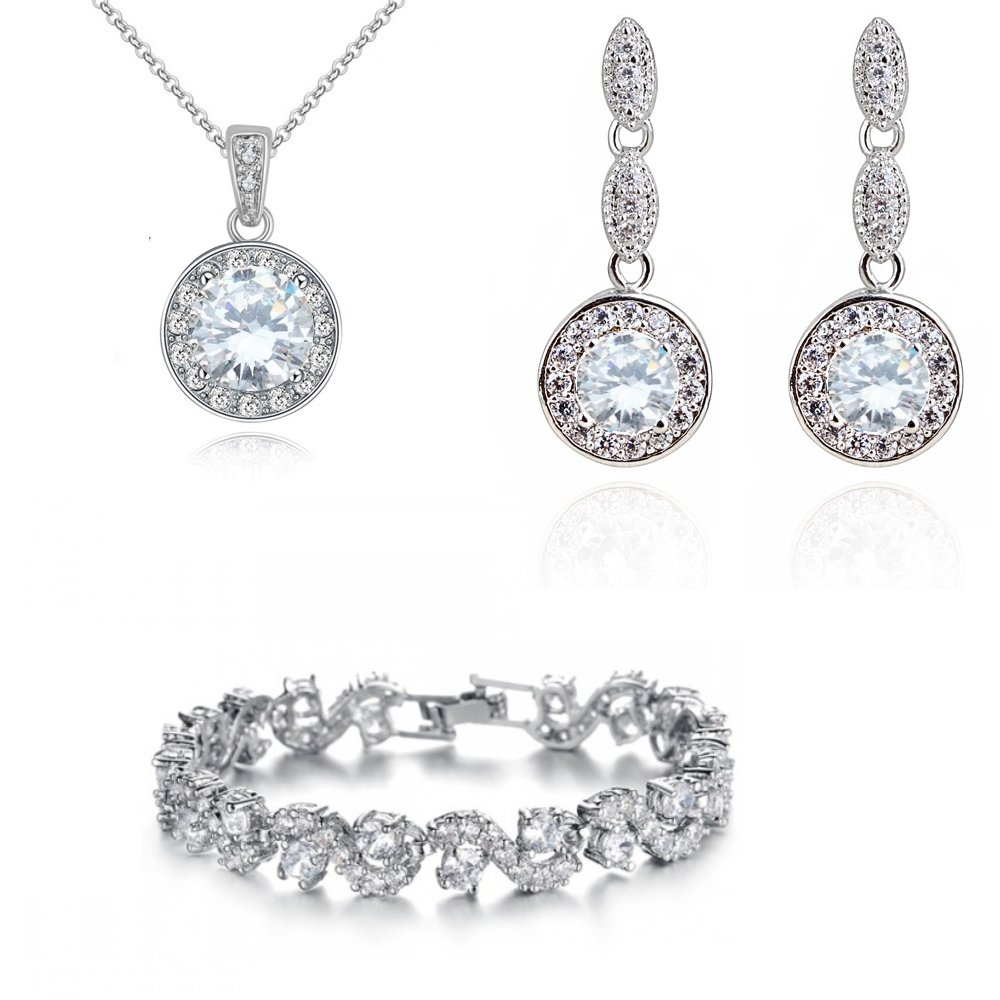 Wedding Round Set White Zirconia Crystals Pendant Necklace 18 Earrings Bracelet 6.7 18 ct White Gold Plated Crystalline CA-AZ-CR-0181