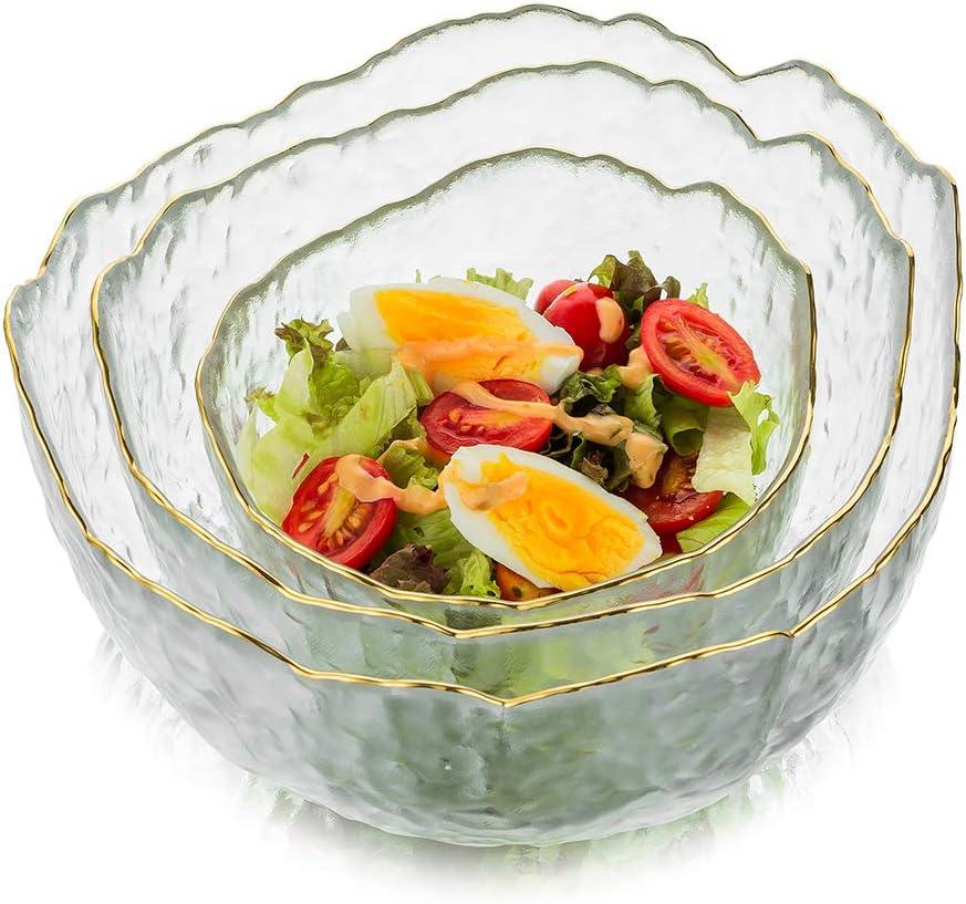 19,6 x 10,5 cm Set of 2 Original Thick Glass Salad Bowls 1.9 L Heavy Duty Mult-ipurpose Serving Transparent Dessert Bowl Squared 8 X 5.5