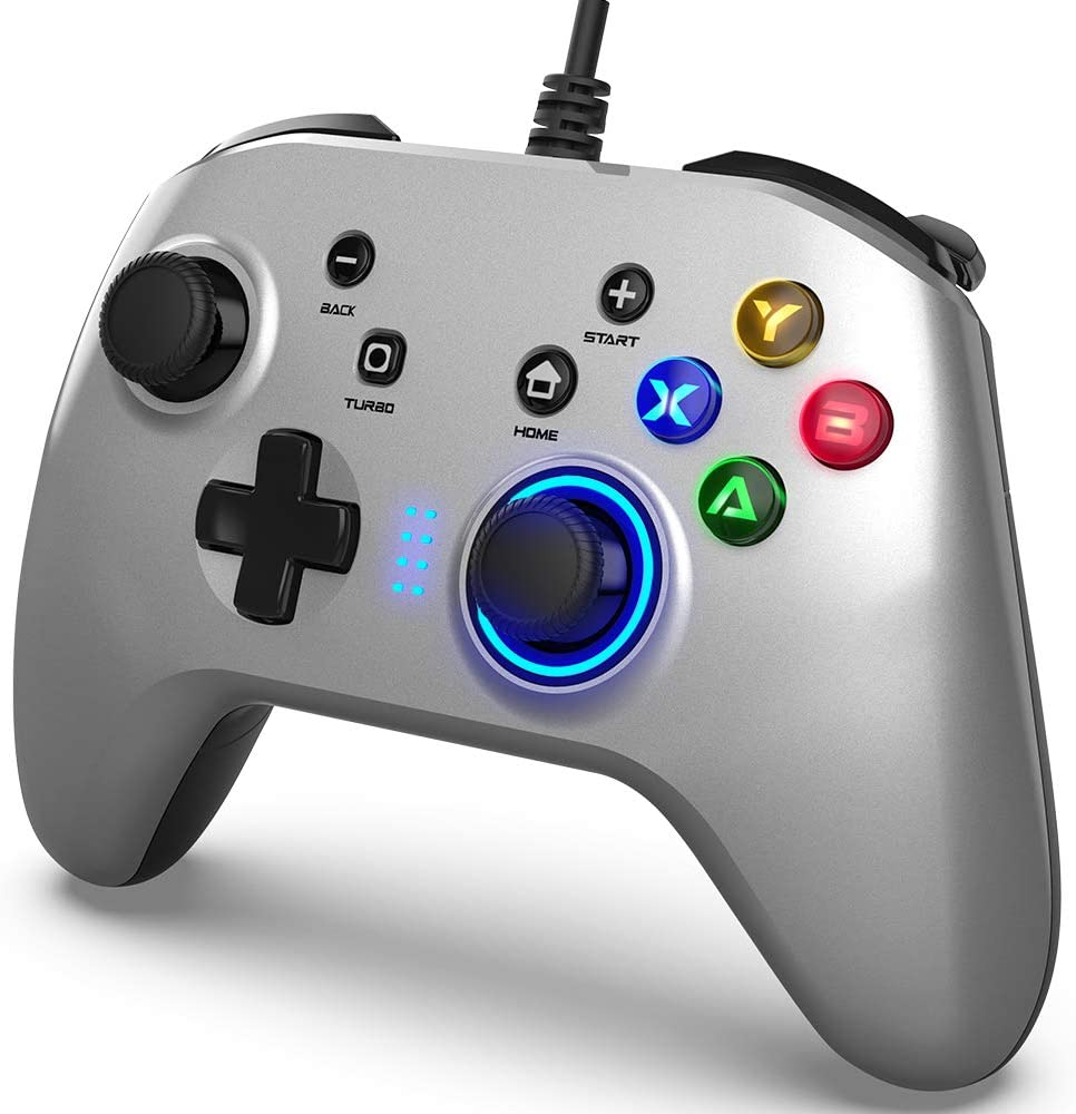 Wired Gaming Controller, Joystick Gamepad with Dual-Vibration PC Game Controller Compatible with PS3, Switch, Windows 10/8/7 PC, Laptop, TV Box, Android Mobile Phones, 6.5 ft USB Cable, Silver Color: Computers & Accessories