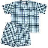 Men's Woven Pajama V-Neck Sleepwear Short Sleeve Shorts and Top Set, Sizes S/4XL -Blue Plaids - Large