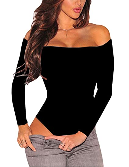 8b4fa3af5c731 SEBOWEL Women Black Off Shoulder Bodycon Long Sleeve Bodysuits Jumpsuits  Rompers Tops S
