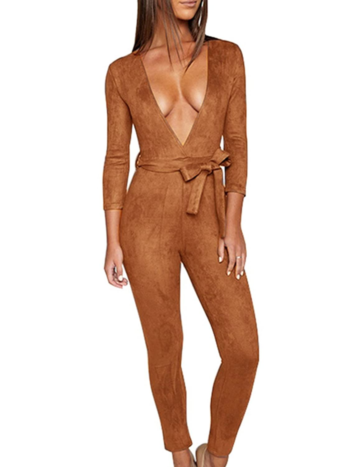 Glamaker Women's Sexy Deep V Neck Long Sleeves Suede Jumpsuit Pants Rompers with Belt