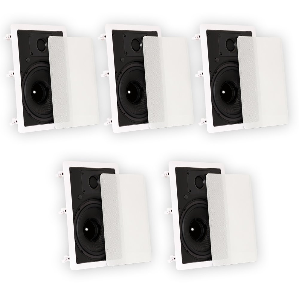 Theater Solutions TS80W In Wall 8'' Speakers Surround Sound Home Theater 5 Speaker Set