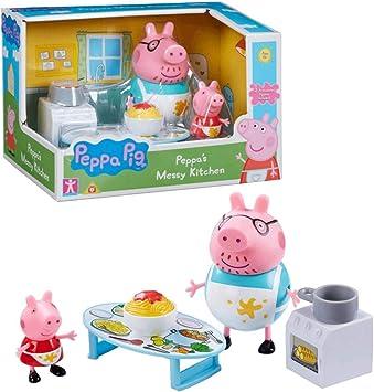 Peppa Pig Cocina Sucia | Conjunto Juguetes Figura Peppa & Papá Pig: Amazon.es: Juguetes y juegos