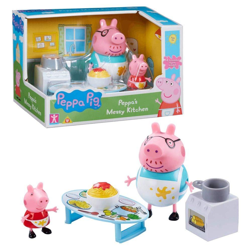 Character World Cocina Sucia con Figura Peppa /& Pap/á Pig Peppa Pig Conjunto Juguetes