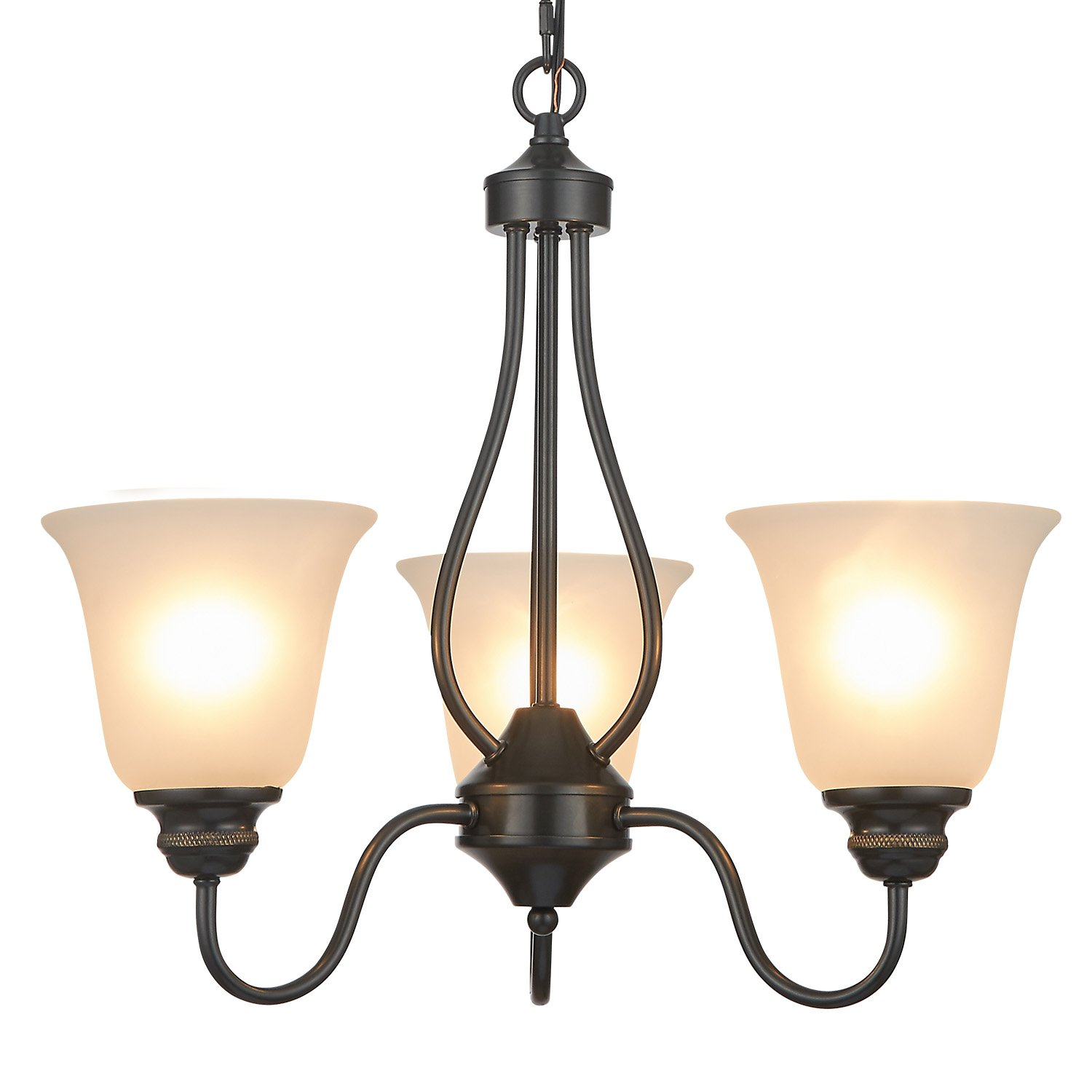 Doraimi 3/5 Light Chandelier Lighting Traditional Ceiling Light Fixture with Satin Etched Cased Opal Glass Shade for Foyer, Dining Room, Living Room, Family Room (Black, 3 Light)