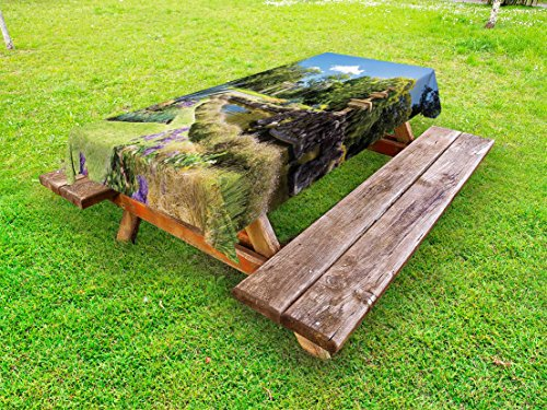Lunarable Garden Outdoor Tablecloth, Fitzroy Gardens in a Summer Day Fountain Historical Iconic Tourist Attraction Place, Decorative Washable Picnic Table Cloth, 58 X 104 Inches, Green Blue by Lunarable