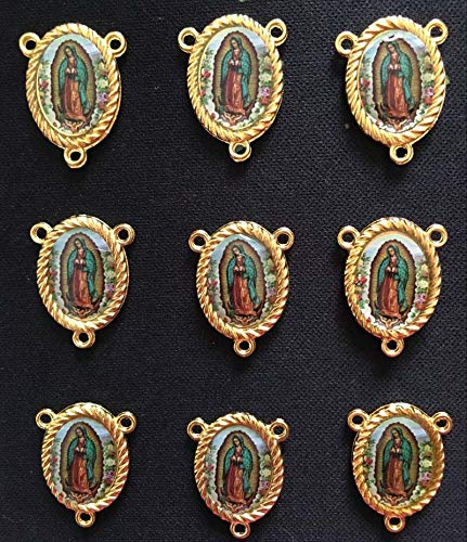 Laliva Accessories - 10PCS Gold Color Our Lady of Guadalupe Rosary Center Medals 3 Holes Two Side Same Photo