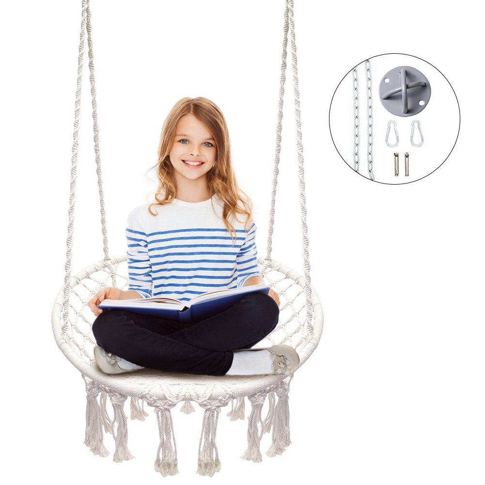 Apollo Box Hammock Chair Macrame Swing, 300 Pound Capacity, Included Hammock Hanging Accessory, Perfect for Indoor/Outdoor Home Patio Deck Yard Garden Reading Leisure Lounging,White