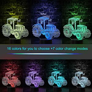 Christmas Gift Tractor 3D Illusion Beside Table Lamp, Gawell 16 Color Changing Touch Switch Decoration Birthday Present with Acrylic Flat & ABS Base & USB & Remote Control Cable Tractor Theme Toy (Color: Tractor Lamp)