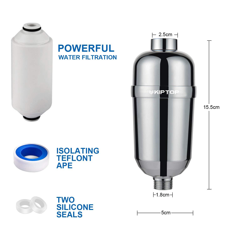 KIPTOP Filtro Ducha Filtro Agua Descalcificador de Agua Domestico 16 Etapas Elimina Cloro Fl/úor Metales Pesados Adecuado para Cualquier Cabezal de Ducha para Ba/ño Lavabo Cocina Exterior Grifo