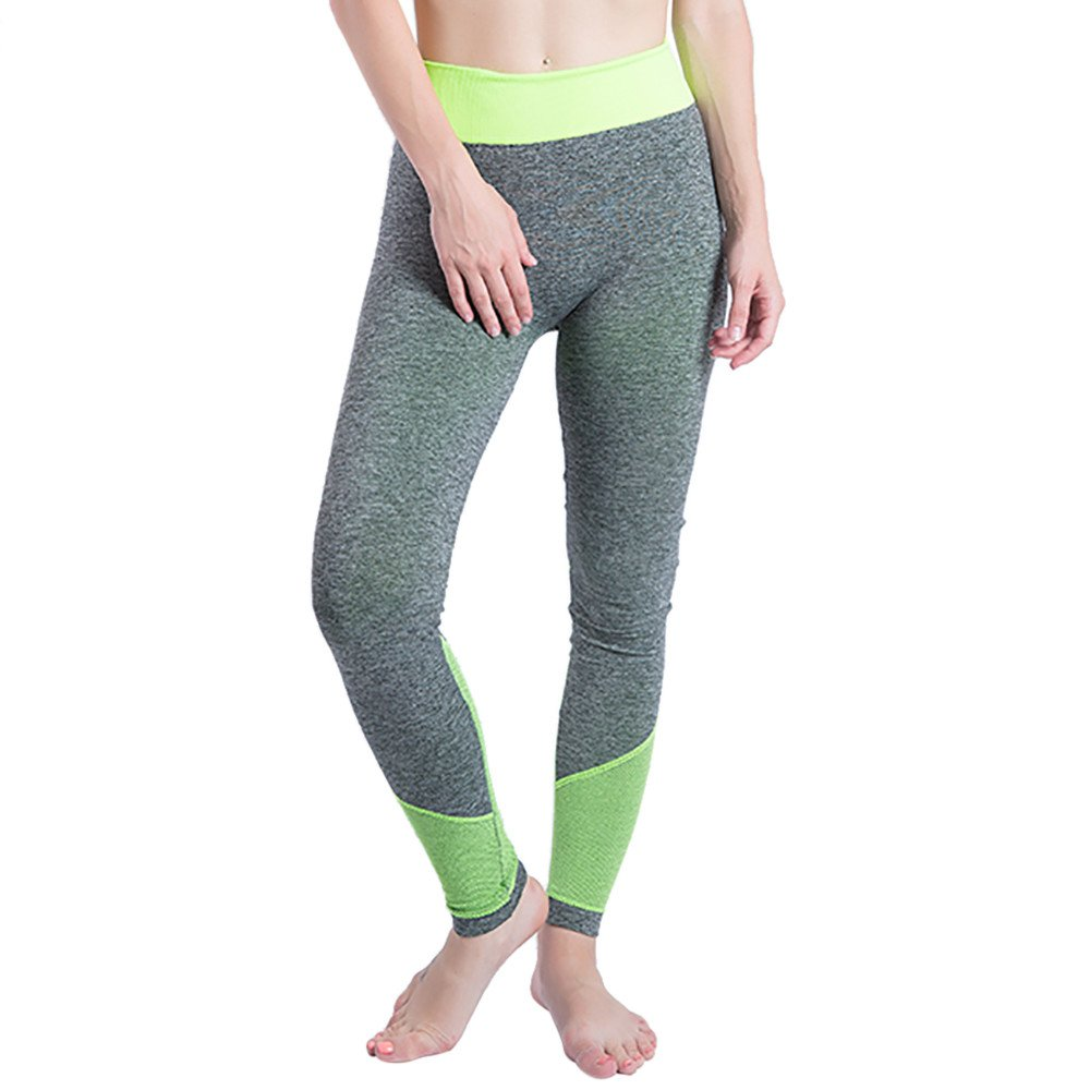 iLUGU Women Gym Yoga Patchwork Sports Running Fitness Leggings Pants Athletic Trouser(S,Green-7)