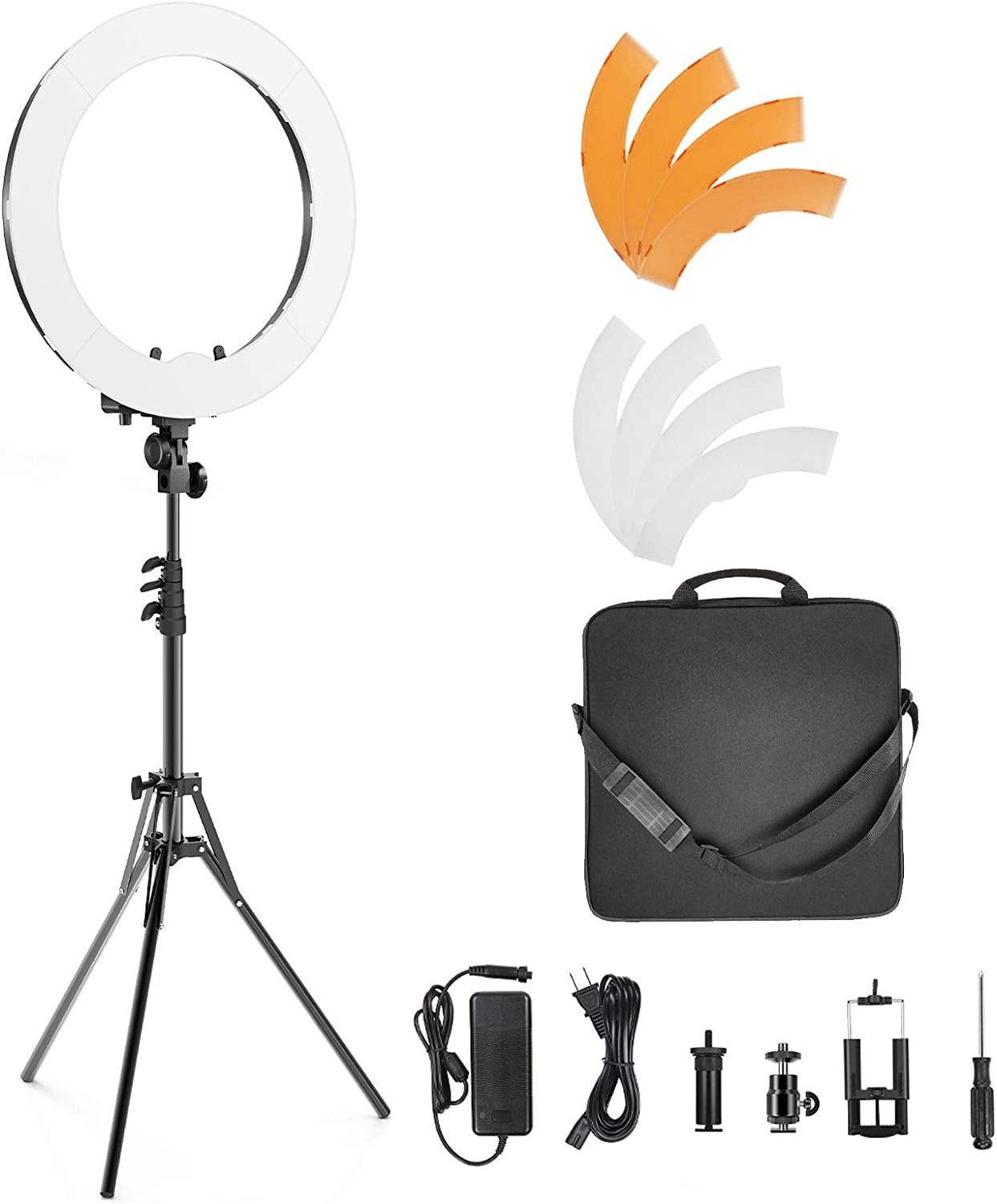 """Light Stand UK 55W Video Photo Ring Light Lighting Kit 18/"""" Outer Dimmable LED"""