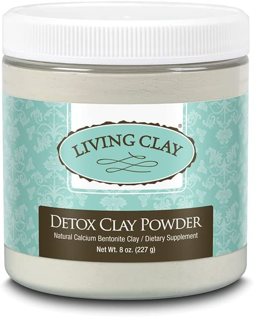 Living Clay Detox Clay Powder | All-Natural Bentonite Calcium Clay for Internal & External Deep Cleansing | Perfect for Mask, Bath or Wrap | 8 oz