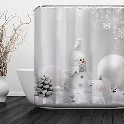 ALFALFA Happy Snowman Christmas Shower Curtainswinter Holiday Xmas New Year Decor Polyester Fabric