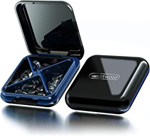 Pill Case, Pill Container for Purse Pocket, Waterproof Travel Small Pill Box Medicine Vitamin Organizer for Storing Fish Oil & Pills, 4 Compartment (Black)