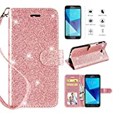 Samsung Galaxy J3 Emerge Case,Galaxy J3 2017 Case,J3 Prime/J3 Eclipse/J3 Luna Pro/Sol 2 Wallet Case w [HD Screen Protector], Glitter [Kickstand] [Magnetic Closure] and [Wrist Strap] Case,Rosegold