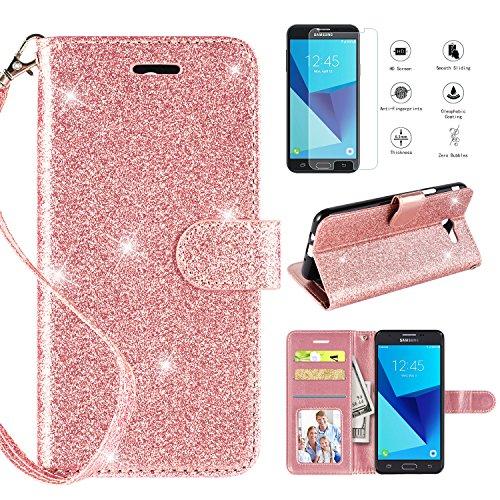 Samsung Galaxy J3 Emerge Case,Galaxy J3 2017 Case,J3 Prime/J3 Eclipse/J3 Luna Pro/Sol 2 Wallet Case w [HD Screen Protector], Glitter [Kickstand] [Magnetic Closure] and [Wrist Strap] Case,Rosegold
