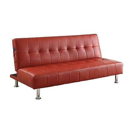 Amazon.com: Benzara BM131148 Contemporary Sofa Futon, Red: Kitchen ...
