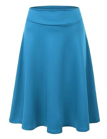 Doublju Elastic High Waist A-Line Flared Midi Skirt For Women With ...