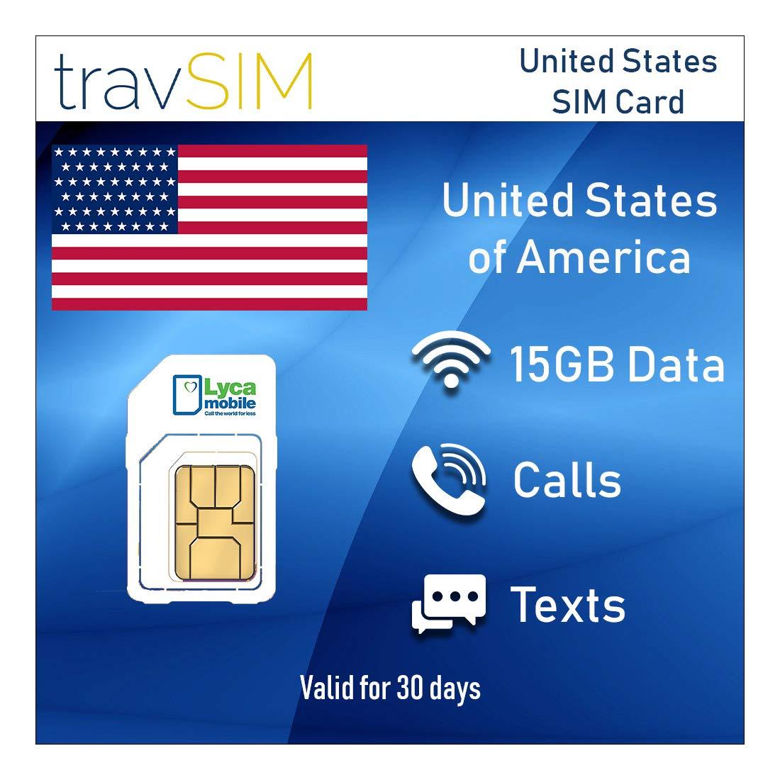 travSIM - Tarjeta SIM Prepagada Lycamobile para EE.UU. (Incluyendo Hawaii & Puerto Rico) - 15 GB de Datos 3G/4G/LTE Móvil, Llamadas Nacionales e ...