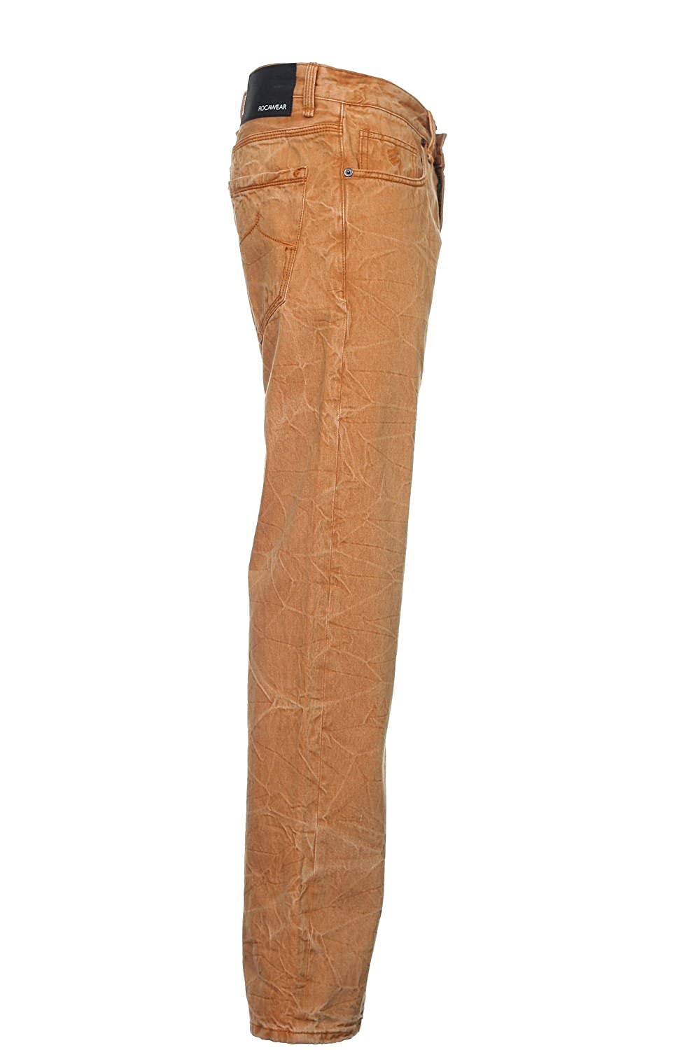 Rocawear Interior Color Weave Mens Orange Distressed Straight Leg Jeans