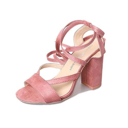 7fa9efc36fac Ansenesna Sandalen Damen Sommer Mit Absatz Elegant Rosa Sommerschuhe  Mädchen Dicke Sohle Hoch Schuhe Für Party