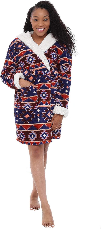 Alexander Del Rossa Womens Plush Fleece Robe with Hood Warm Contrast Bathrobe