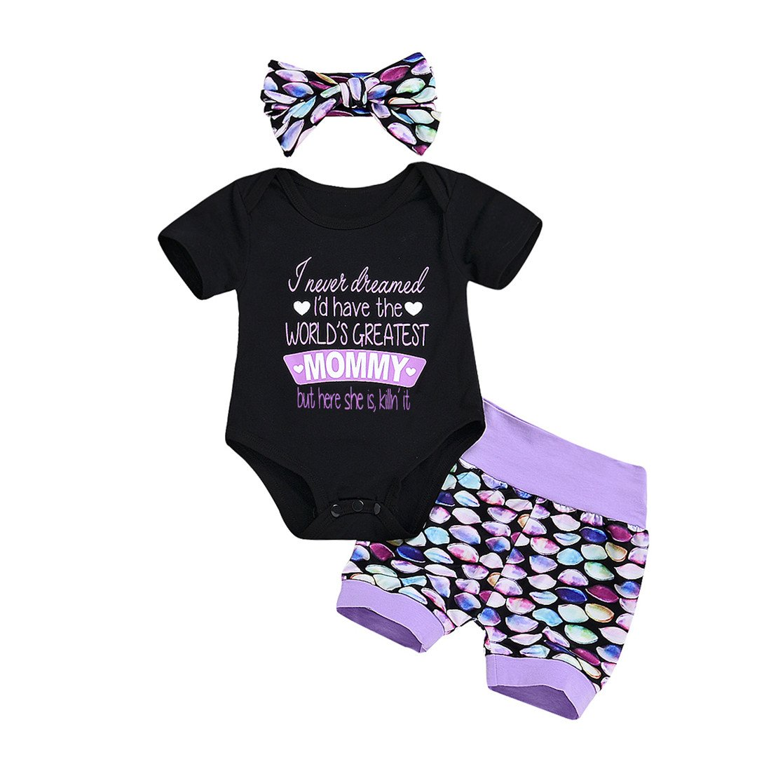 879754850e5d Greatest Mommy Letter print black bodysuit and mermaid short pants  headband. Arrive in 7-18 days