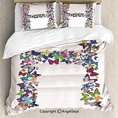 AngelSept Luxe Bedding SetsCute Collection Colorful Butterflies Lepidoptera Family Girls Exotic Nature Font Decorative,Twin Size,Microfiber 3 Piece Beding Set Duvet Cover Set,Multicolor