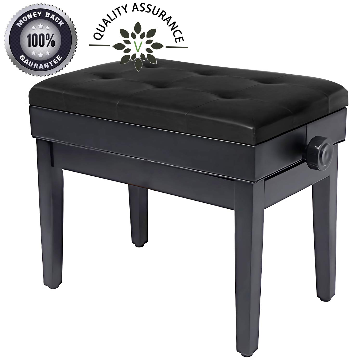 Brilliant Adjustable Piano Bench Wooden Piano Stool With Music Storage Height Adjustable Pu Leather And Solid Wood Black Gmtry Best Dining Table And Chair Ideas Images Gmtryco