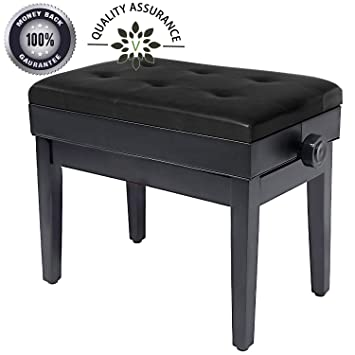 Marvelous Adjustable Piano Bench Wooden Piano Stool With Music Storage Height Adjustable Pu Leather And Solid Wood Black Machost Co Dining Chair Design Ideas Machostcouk