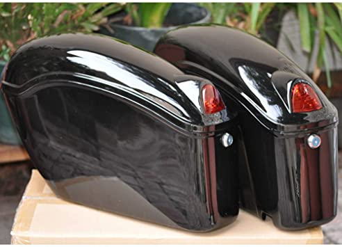 Black Motorcycle Hard Saddlebags Trunk Saddle Bags W//Mounting bracket For Yamaha Honda Shadow Kawasaki Vulcan VN Black