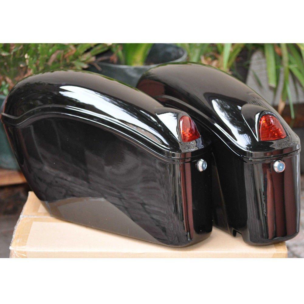 EGO BIKE Black Hard Saddle Bags Trunk Luggage w/Lights Mount Bracket Motorcycle for Yamaha Cruiser by EGO BIKE