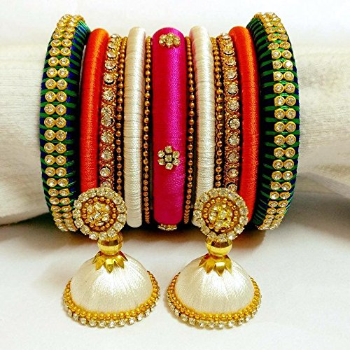 fcc10229733f2 Blue,orange,white and pink silk thread bangles with jhumkas: Amazon ...