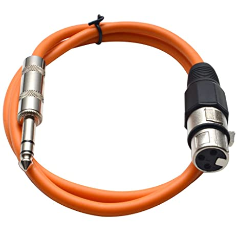 Seismic Audio - SATRXL-F3 - Orange 3 XLR Female to 1/4""