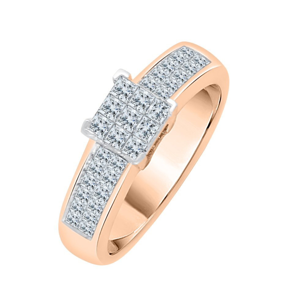 Princess Cut Diamond Anniversary Ring in 10K Rose Gold (3/4 cttw) (GH-Color, VSSI-Clarity) (Size-5)