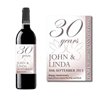 Personalised 30th Pearl Wedding Anniversary Wine Bottle Label Gift for Women and Men