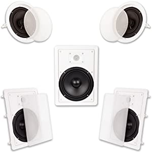 """Acoustic Audio HT-85 in Wall in Ceiling 1500W 8"""" Home Theater 5 Speaker System"""