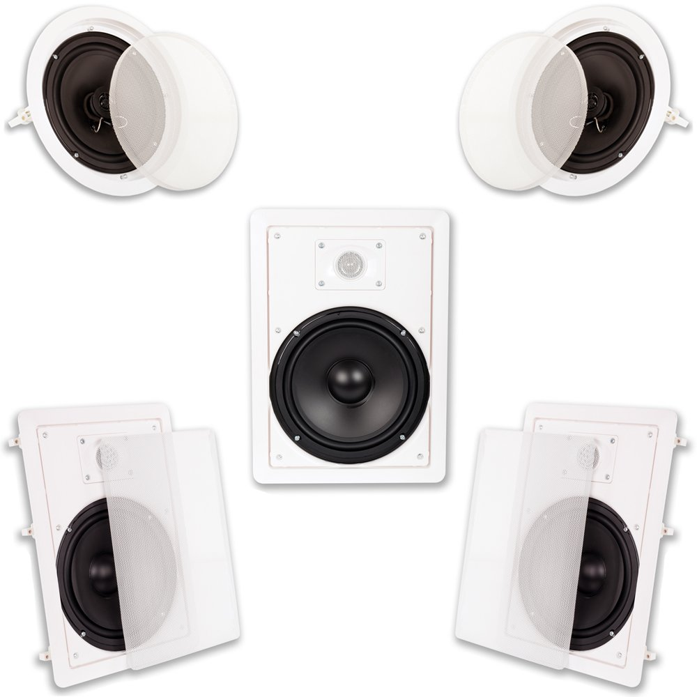 Acoustic Audio HT-85 in Wall in Ceiling 1500W 8'' Home Theater 5 Speaker System