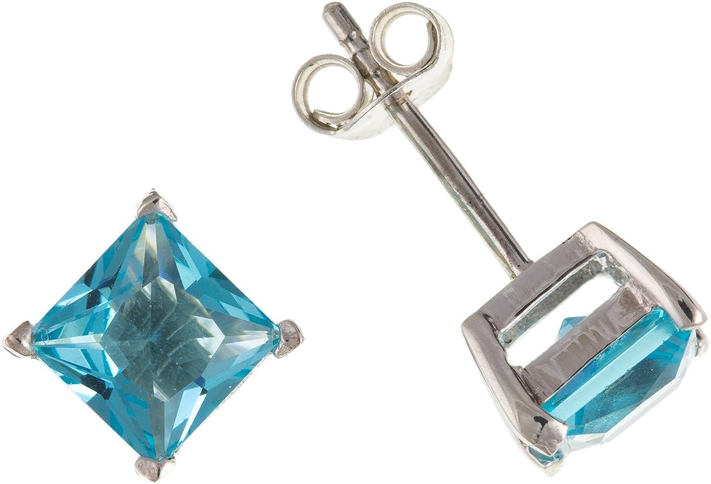 Pendientes de tuerca de plata de ley 925 con circonita cúbica de corte princesa y cuadrada, 8 mm, color azul aguamarina