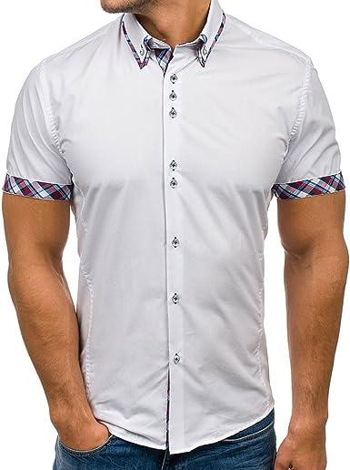 hibote Camisa Hombre Mezcla de algodón Casual de Manga Corta Top ...