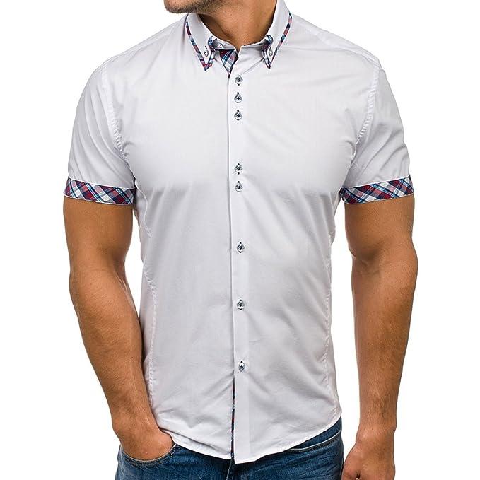 4d806060 Hibote Camisa Hombre Mezcla de Algodón Casual de Manga Corta Top Color  Sólido Suelta Camisas Apropiado Cómodo Transpirable Camisa M-3XL:  Amazon.es: Ropa y ...