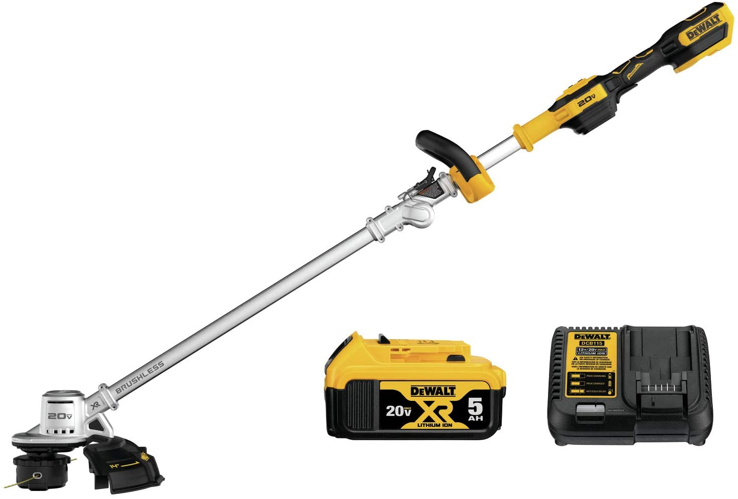 DEWALT DCST922P1 Black & Decker Lawn Trimmer BRUSHLESS W/5AH PK 20V, Yellow/Black