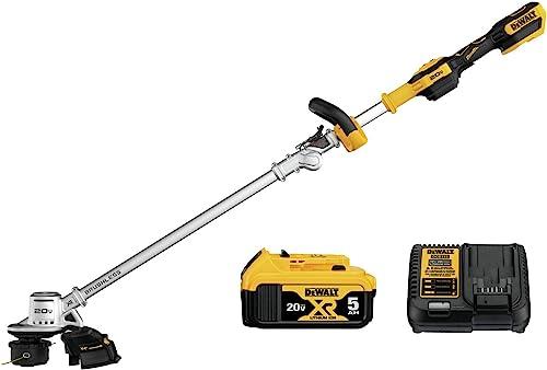 DEWALT DCST922P1 Black Decker Lawn Trimmer BRUSHLESS W 5AH PK 20V, Yellow Black
