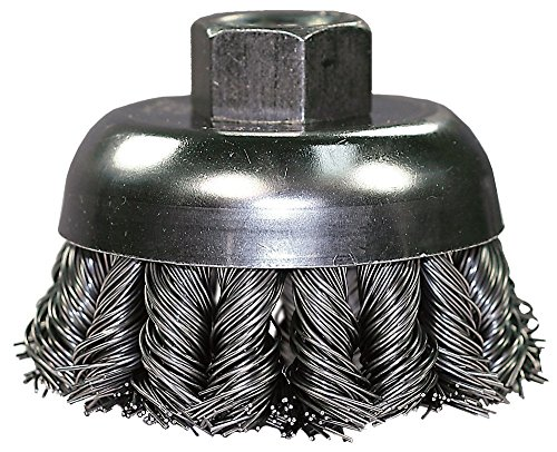 """PFERD 82717 Combitwist Power Knot Wire Cup Brush with External Nut, Threaded Hole, Carbon Steel Bristles, 4"""" Diameter, 0.023"""" Wire Size, 5/8""""-11 Thread, 9000 Maximum RPM, 24 Knot"""