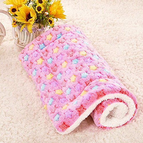 Pet Puppy Blanket New Style Cute Soft Warm with Paw Prints for Pet Beds Dog Cat House Coral Velvet Cushion Mat (pink)